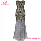 Vintage Mermaid Hemline Sequin Formal Gown Evening Dress