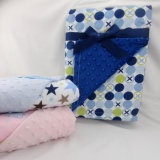 Rotary Printed Flannel 100% Cotton and Bubble Embossed Micro Mink Baby Blanket