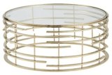 Rose Gold Finish Coffee Tea Table with Toughened Glass Top