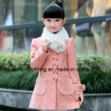 Girls′ Woollen Coat Children Clothes with Detachable Fur Collar
