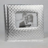 """5X7 """" Sliver Knit Texture Leather Photo Album with Window"""