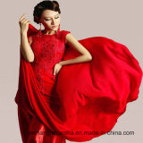 Floor-Length Chiffon Embroidery Wedding Dress Lace Backless Prom Dresses