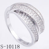 Fashionable Silver Jewelry 925 Silver Lady Ring with Micro Pave CZ (S-10118)