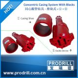 Concentric Overburden Casing Drilling System with Block