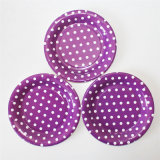 "7"" Party Paper Plate, Round Polka Purple DOT Paper Plates"