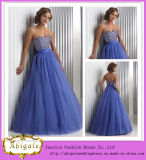 2014 High Quality Custom Made A Line Sweetheart Low Back Beaded Bodice Tulle Skirt Prom Dress (MN1802)