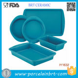 5PCS Hot Sale Blue Ceramic Cake Pan Tableware Set