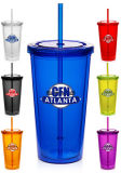 Translucent Double Wall Custom Printed Acrylic Tumblers with Straws