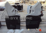 Black Granite Stone Carving Swan Headstone / Tombstone