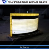 White Marble Yellow Lighiting Half Circle Lluminated Round Shape LED Bar Counter