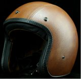 Vintage Helmet for Open Face in Leather Material
