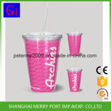 BPA Free Double Wall Plastic Mug with Straw