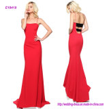 Fitted Jersey Evening Gown with Liquid Beaded Back Bands