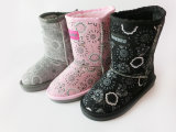 Child New Style Nice Outdoor Snow Boots with Printing Flowers