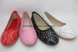 Slip on Flat PU Shoes with Fake Diamond for Children
