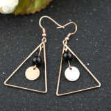 Fashion Ladies Jewelry Stainless Steel Triangular Black Agate Long Earrings