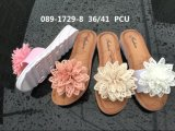 PVC Plastic Lady Shoes with Flower Upper