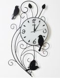 Metal Technique Decorative Wall Clock with Standing Birds