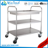 3 Tiers Round Tube Food Delivery Collecting Service Trolley Hot and Cold with Deep Shelves for Sale