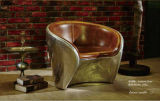 Aluminum Base Disdressed Vintage Leather Armchair for Hotel