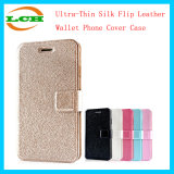 Ultra-Thin Silk Flip Leather Wallet Phone Cover Case