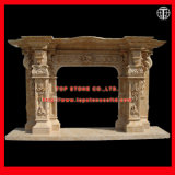 Yellow Marble Stone Fireplace with Flower Carving for Indoor Decoration