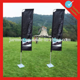 White Outdoor Soccer Beach Flag with Stand