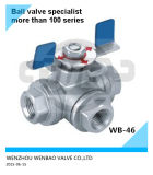 """A351-CF8 Butterfly Handle 3-Way Ball Valve 11/2"""" 1000psi"""