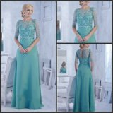 Blue Chiffon Party Prom Formal Gown Beaded Bridesmaid Dress Yao175
