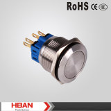 25mm Flat Head Stainless Steel Momentary, Latching Push Button Switch