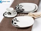 20PCS Black Rose Ceramic Tableware Dinner Plate, Dinner Plate Square for Restaurant
