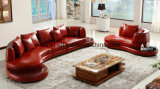 Italy New Design Round Circle Genuine Leather Corner Sofa (UL-NS258)