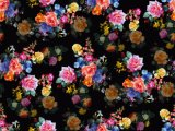 Black Flowers Printed Nylon Swimwear Fabric (ASQ093)