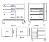 45 Inch 11 Drawer 4 Sided Workstation; Tool Cabinet;