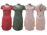 Rayon/Spandex Roud-Neck Ladies Simple Fashion Long Dress