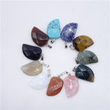 Natural Gemstone Agate Onyx Craved Leaf Necklaces Charms Pendulums