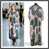 Fashion Ladies Floral Printed Short Sleeve Prom Maxi Dress