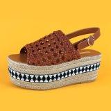 Latest Women Flat Brown PU Woven Platform Ladies Espadrilles Sandal with Ankle Strap