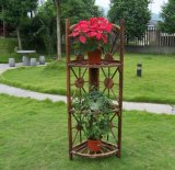 Garden Burnt Corner Wood Plant Stand Pot Planter 3 Tier Shelves
