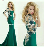 Green Embroidery Evening Dresses One Shoulder Long Sleeves Sheer Back Pageant Prom Dresses E14732