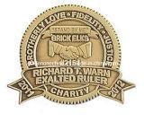 Die Struck Antique Brass Finish Embossed Logo Metal Emblem
