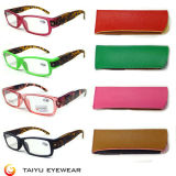 LED Reading Glasses Fashoion Design Exchargeable Battery LED Reader with Case