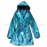 PU Blue Hooded Raincoat for Adult