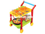 2014 Big&Cheap! ! Baby Plastic Kitchen Cooking Set Toy with Microwave Oven, Light Music, (147416)