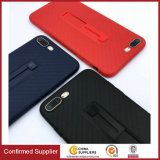 New Carbon Fiber Texture Soft Mobile Cover with Built-in Kickstand