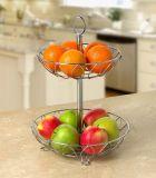 Sliver 2 Tiers Kitchen Fruit Basket