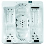 4 Person 68 Jet China Square Lounger Hot Tub with Dual Level Seat