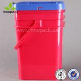 5 Gallon Bucket Plastic Pails with Lids and Handles Square Black Plastic Bucket Storage Pail Rectangular Pail