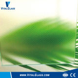 Anti Slip Glass/Clear Patterned Glass//Green Flora Figured Glass