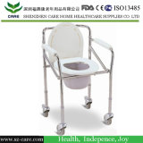 Rehabilitation Therapy Supplies Folding Commode Chair with Wheels